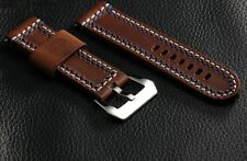 Banda Double stitched Brown Leather Watch Strap for Panerai
