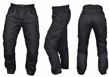 Mens CE ARMOURED BLACK WATERPROOF MOTORBIKE MOTORCYCLE TROUSERS PANTS