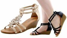 Ladies Wedge Sandals Ankle Strap Mid Heel Women Shoes Sequence Peep Toe Mules