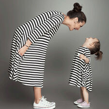 Hot Mother&Daughter Striped Long Sleeve Dress Casual family cloth Girls Dress