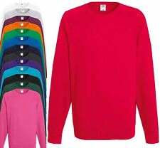 Fruit of The Loom Lightweight Raglan Sweatshirt Plain Sweater Jumper S - XXL