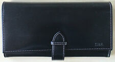Aspinal of London London Ladies Purse Wallet in Smooth Black. Embossments.