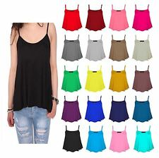 LADIES PLAIN STRAPPY SWING VEST  WOMENS SLEEVELESS  CAMI CASUAL TANK TOP FLARED