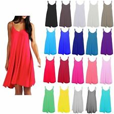 New Womens Sleeveless Long Cami Plain Strappy Swing Vest Camisole Dress Top 8-26