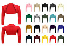 Ladies New Plain Shrug Top Womens Long Sleeve Knitted Cropped Cardigan Size 8-26