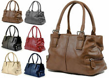 NEW LADIES QUALITY SHOULDER HANDBAG 3 TOP ZIPPED COMPARTMENTS FAUX LEATHER BAG
