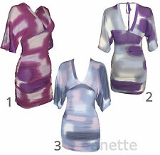Multi-Coloured Stretch Fit Ladies Girls Tunic or Mini Dress Cotton V Neck Draped