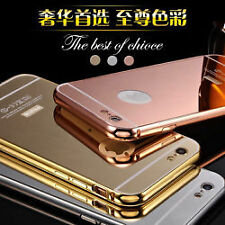MIRROR BACK + ALUMINIUM METAL BUMPER Back Case Cover For *APPLE IPHONE 5/5S*