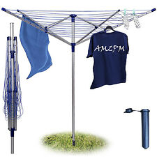 40M/50M/60M 4 Arm Rotary Clothes Airer Dryer Garden Outdoor Folding Washing Line