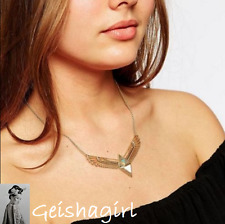 Statement Necklace Angel Wings Art Deco Antique Boho Triangle Pendant UK Seller
