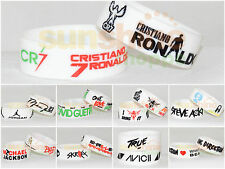 Assorted GLOW in DARK WHITE WristBand Silicone 30 mm Rubber Fashion Bracelet