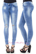 Womens Jeans Slim Super Skinny Stretch Light Wash Ripped Knee Denim Jeans UK8-16