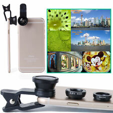 3 in1 Fish Eye+ Wide Angle + Macro Camera Clip-on Lens For iPhone 6S Samsung HTC