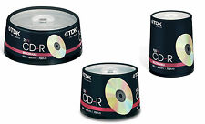TDK CD-R RECORDABLE 25 PK - 50 PK AND 100 PK 80 MIN 700 MB