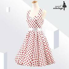 White Red Polka Dot Audrey Hepburn 50s 60s Vintage Rockabilly Dress Halter