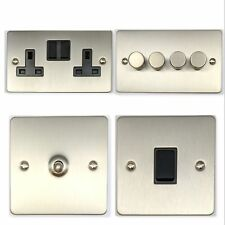 Flat Plate Brushed Stainless Steel FSSB Light Switches, Plug Sockets, Dimmers