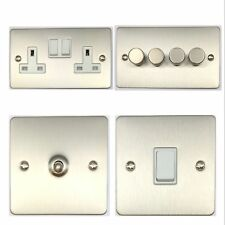 Flat Plate Brushed Stainless Steel FSSW Light Switches, Plug Sockets, Dimmers