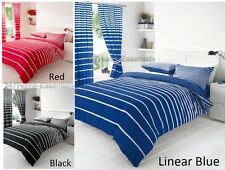 Striped Duvet Quilt Cover With Pillow Cases Bedding Set Or  Matching Curtains