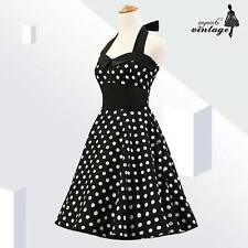 Black White Polka Dot Button 50s 60s Vintage Rockabilly Dress Halter