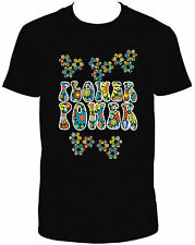 FLOWER POWER BLACK SHORT SLEEVE CREW NECK TSHIRT