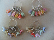 Knitting or Crochet Stitch Markers Set of 6 Teddy Bears or Dolphins