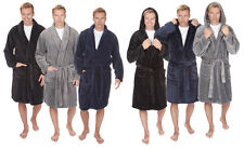 Herren Luxus SuperSoft Vlies Mit kapuze Schal Kuschlig Bad Robe Bademantel