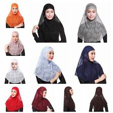 Women Two Piece Muslim Lace Amira Islamic Head Scarf Hat Cap Hijab Wrap Shawl