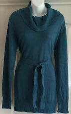 NEW~JOJO MAMAN BEBE~MATERNITY LONG-LINE JUMPER TOP TEAL GREEN KNITTED WITH BELT