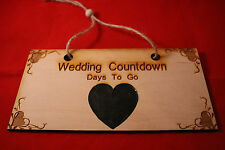 Wedding Chalkboard Countdown Personalised Plaque Sign Birch Engagement Mr & Mrs