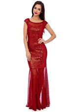 New Red Velour Sequin Embellished Maxi Formal Prom Evening Party Dress 8-16