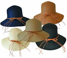 Ladies Women's Crushable Summer Sun Straw Beach Hat with Bow