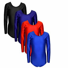 Girls Uniform Leotard Dance Gymnastics Long Sleeve Leotards