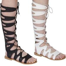 Ladies Womens Knee High Gladiator Sandals Lace Strappy Summer Faux Leather Shoes