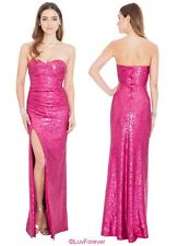 New Long Cerise Strapless Split Sequin Wedding Eve Maxi Prom Party Dress (8-14)