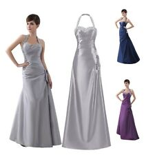 Halter Neck Maxi Formal Evening Sequin Bridesmaids Gowns Party Long Prom Dresses