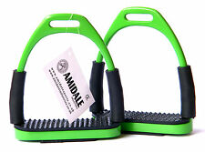 FLEXI SAFETY STIRRUPS HORSE RIDING BENDY IRONS STAINLESS STEEL GREEN AMIDALE