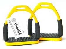FLEXI SAFETY STIRRUPS HORSE RIDING BENDY IRONS STAINLESS STEEL YELLOW AMIDALE