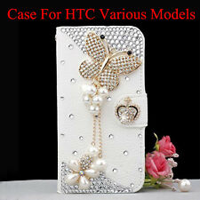Bling crystal Diamonds Pearls butterfly PU Card Wallet Case Stand Cover For HTC