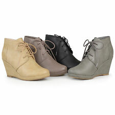 Brinley Co Womens Lace-up Faux Leather Round Toe Ankle Wedge Booties New