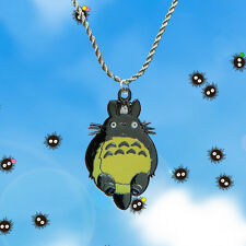 Totoro Studio Ghibli sterling silver / faux leather necklace with charm