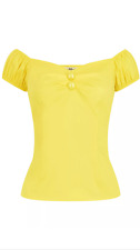 Collectif 50s Yellow Dolores Gypsy Vintage Style Top