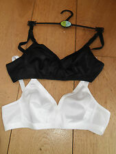 MARKS & SPENCER 2 PACK NON WIRED FULL CUP CROSSOVER BRA BLACK WHITE 32 34 A B C