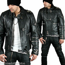 Men' New Stylish Multiple Blt Accent Black Slim Leather Biker Jacket in Black