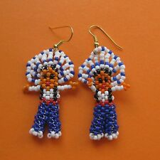 HIPPIE TRIBAL FESTIVAL FRIENDSHIP BEAD CHIEF LITTLE MAN EARRINGS BOHO INDIAN bow