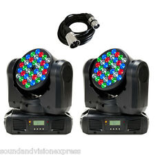 2 x American DJ ADJ Inno Color Beam LED RGBW Moving Head Spot Light + DMX Lead
