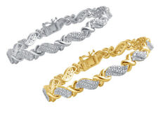Natural Diamond XO Tennis Bracelet in Gold or Silver Plated Brass 0.25ct