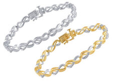 White/ Yellow Gold Plated Brass Infinity Link Bracelet with Diamonds and Accents