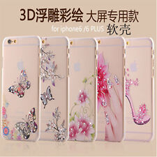 Rose Flower Bling Diamond Transparent soft tpu Back cover case for iPhone 5, 5S
