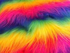 LONG Pile Fun Faux Fur Fabric Material RAINBOW MIX