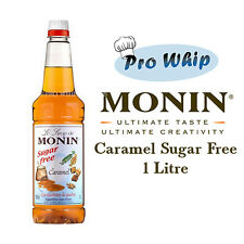 Monin Coffee Syrup CARAMEL SUGAR FREE 1 Litre Bottles - AS USED BY COSTA COFFEE